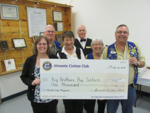 Almonte Civitan Supports Big Brothers / Big Sisters